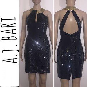 A.J Bari Black Sequin Dress